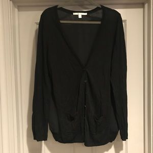 Cardigan sweater with sheer back
